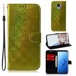Laser Circle Shining Leather Wallet Phone Case for Samsung Galaxy S9 - Golden
