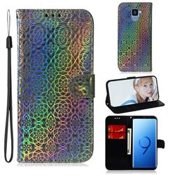 Laser Circle Shining Leather Wallet Phone Case for Samsung Galaxy S9 - Silver