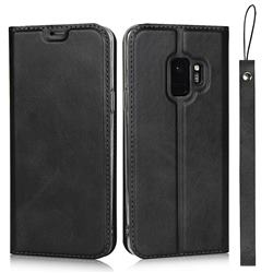 Calf Pattern Magnetic Automatic Suction Leather Wallet Case for Samsung Galaxy S9 - Black