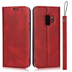Calf Pattern Magnetic Automatic Suction Leather Wallet Case for Samsung Galaxy S9 - Red
