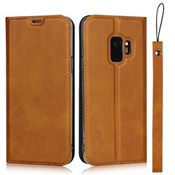 Calf Pattern Magnetic Automatic Suction Leather Wallet Case for Samsung Galaxy S9 - Brown