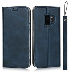 Calf Pattern Magnetic Automatic Suction Leather Wallet Case for Samsung Galaxy S9 - Blue