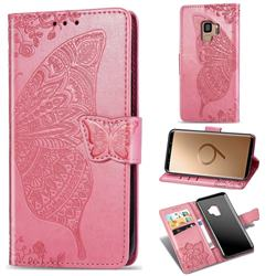 Embossing Mandala Flower Butterfly Leather Wallet Case for Samsung Galaxy S9 - Pink