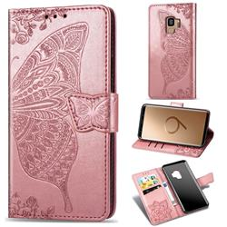 Embossing Mandala Flower Butterfly Leather Wallet Case for Samsung Galaxy S9 - Rose Gold