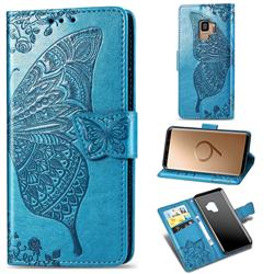 Embossing Mandala Flower Butterfly Leather Wallet Case for Samsung Galaxy S9 - Blue
