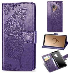 Embossing Mandala Flower Butterfly Leather Wallet Case for Samsung Galaxy S9 - Dark Purple