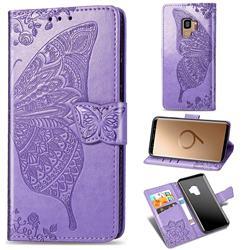 Embossing Mandala Flower Butterfly Leather Wallet Case for Samsung Galaxy S9 - Light Purple
