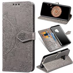Embossing Imprint Mandala Flower Leather Wallet Case for Samsung Galaxy S9 - Gray