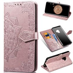 Embossing Imprint Mandala Flower Leather Wallet Case for Samsung Galaxy S9 - Rose Gold
