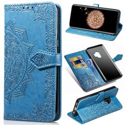Embossing Imprint Mandala Flower Leather Wallet Case for Samsung Galaxy S9 - Blue