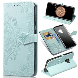 Embossing Imprint Mandala Flower Leather Wallet Case for Samsung Galaxy S9 - Green