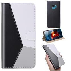 Tricolour Stitching Wallet Flip Cover for Samsung Galaxy S9 - Black