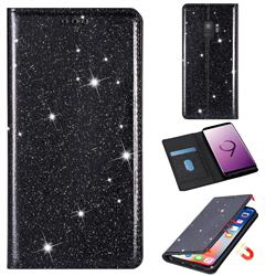 Ultra Slim Glitter Powder Magnetic Automatic Suction Leather Wallet Case for Samsung Galaxy S9 - Black