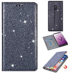 Ultra Slim Glitter Powder Magnetic Automatic Suction Leather Wallet Case for Samsung Galaxy S9 - Gray