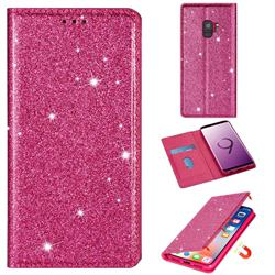 Ultra Slim Glitter Powder Magnetic Automatic Suction Leather Wallet Case for Samsung Galaxy S9 - Rose Red