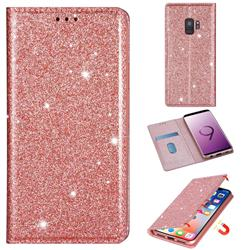 Ultra Slim Glitter Powder Magnetic Automatic Suction Leather Wallet Case for Samsung Galaxy S9 - Rose Gold