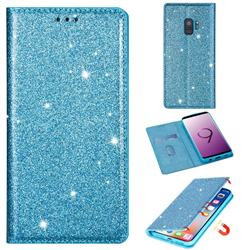 Ultra Slim Glitter Powder Magnetic Automatic Suction Leather Wallet Case for Samsung Galaxy S9 - Blue