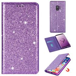 Ultra Slim Glitter Powder Magnetic Automatic Suction Leather Wallet Case for Samsung Galaxy S9 - Purple