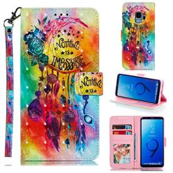 Flower Wind Chimes 3D Painted Leather Phone Wallet Case for Samsung Galaxy S9