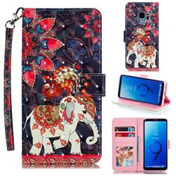 Phoenix Elephant 3D Painted Leather Phone Wallet Case for Samsung Galaxy S9