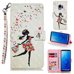 Flower Girl 3D Painted Leather Phone Wallet Case for Samsung Galaxy S9