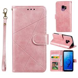 Embossing Geometric Leather Wallet Case for Samsung Galaxy S9 - Rose Gold