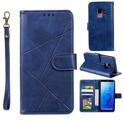 Embossing Geometric Leather Wallet Case for Samsung Galaxy S9 - Blue