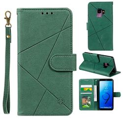 Embossing Geometric Leather Wallet Case for Samsung Galaxy S9 - Green