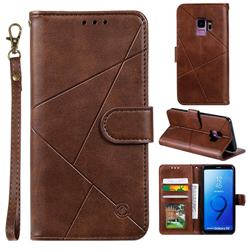 Embossing Geometric Leather Wallet Case for Samsung Galaxy S9 - Brown