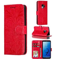 Intricate Embossing Lace Jasmine Flower Leather Wallet Case for Samsung Galaxy S9 - Red