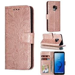 Intricate Embossing Lace Jasmine Flower Leather Wallet Case for Samsung Galaxy S9 - Rose Gold