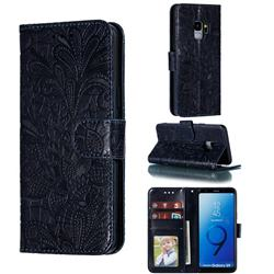 Intricate Embossing Lace Jasmine Flower Leather Wallet Case for Samsung Galaxy S9 - Dark Blue