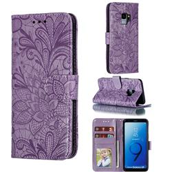 Intricate Embossing Lace Jasmine Flower Leather Wallet Case for Samsung Galaxy S9 - Purple