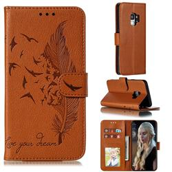 Intricate Embossing Lychee Feather Bird Leather Wallet Case for Samsung Galaxy S9 - Brown