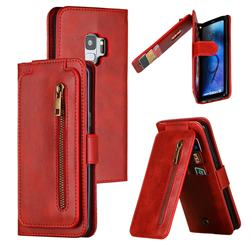 Multifunction 9 Cards Leather Zipper Wallet Phone Case for Samsung Galaxy S9 - Red