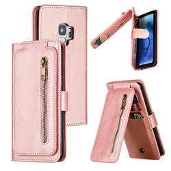 Multifunction 9 Cards Leather Zipper Wallet Phone Case for Samsung Galaxy S9 - Rose Gold