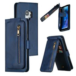 Multifunction 9 Cards Leather Zipper Wallet Phone Case for Samsung Galaxy S9 - Blue