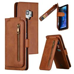 Multifunction 9 Cards Leather Zipper Wallet Phone Case for Samsung Galaxy S9 - Brown