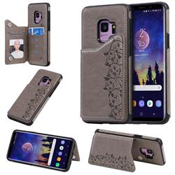 Yikatu Luxury Cute Cats Multifunction Magnetic Card Slots Stand Leather Back Cover for Samsung Galaxy S9 - Gray