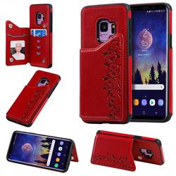 Yikatu Luxury Cute Cats Multifunction Magnetic Card Slots Stand Leather Back Cover for Samsung Galaxy S9 - Red