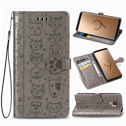 Embossing Dog Paw Kitten and Puppy Leather Wallet Case for Samsung Galaxy S9 - Gray