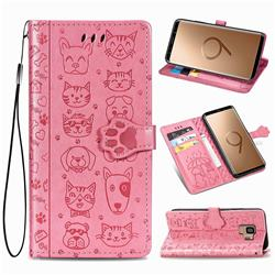Embossing Dog Paw Kitten and Puppy Leather Wallet Case for Samsung Galaxy S9 - Pink