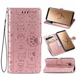 Embossing Dog Paw Kitten and Puppy Leather Wallet Case for Samsung Galaxy S9 - Rose Gold