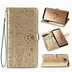 Embossing Dog Paw Kitten and Puppy Leather Wallet Case for Samsung Galaxy S9 - Champagne Gold