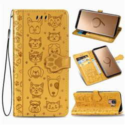 Embossing Dog Paw Kitten and Puppy Leather Wallet Case for Samsung Galaxy S9 - Yellow