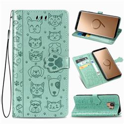 Embossing Dog Paw Kitten and Puppy Leather Wallet Case for Samsung Galaxy S9 - Green
