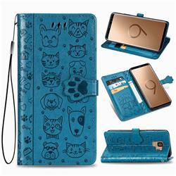 Embossing Dog Paw Kitten and Puppy Leather Wallet Case for Samsung Galaxy S9 - Blue