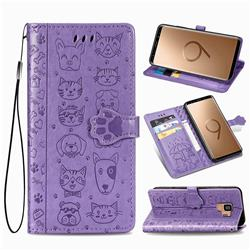 Embossing Dog Paw Kitten and Puppy Leather Wallet Case for Samsung Galaxy S9 - Purple
