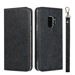 Ultra Slim Magnetic Automatic Suction Silk Lanyard Leather Flip Cover for Samsung Galaxy S9 - Black