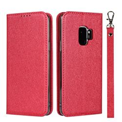 Ultra Slim Magnetic Automatic Suction Silk Lanyard Leather Flip Cover for Samsung Galaxy S9 - Red